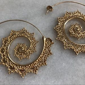 Indian-inspired gold spiral hoop earrings